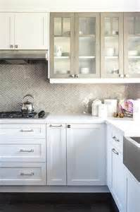 White Cabinets With Doors White Kitchen Cabinets With Gray Framed Glass Doors Transitional Kitchen