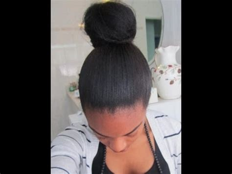 relaxed hair buns high messy bun apl relaxed hair youtube