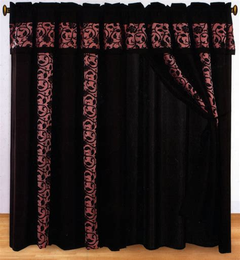 burgundy and black curtains 4 pc classy floral motif window curtain set burgundy black