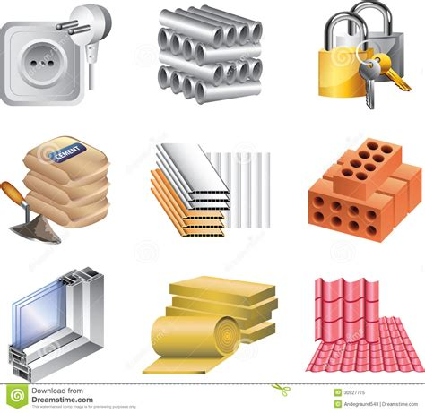 Renovation Blogs by Building Materials Icons Royalty Free Stock Photo Image