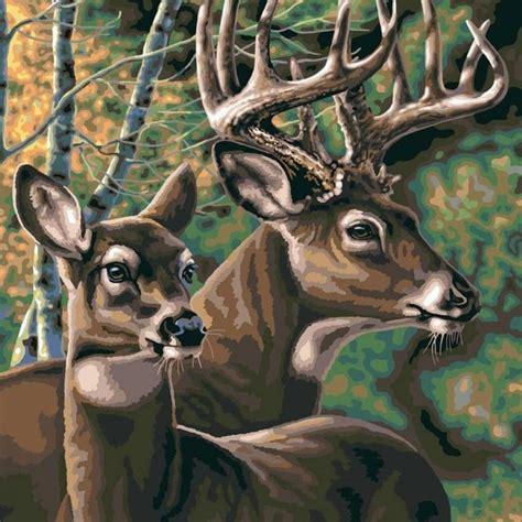 deer pair extra large paint  numbers craftyartscouk