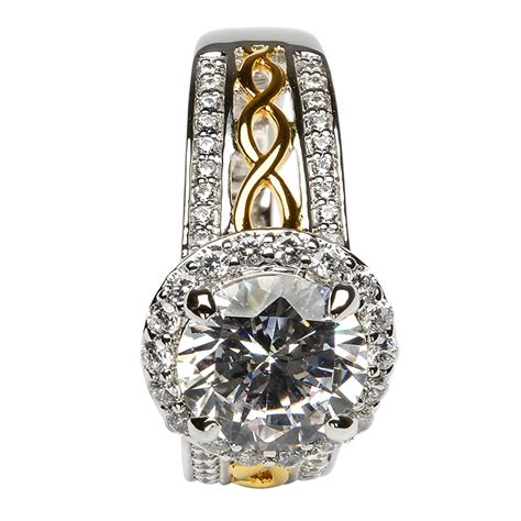 white and silver ls silver and gold plated white cz halo ring ls sl100cz