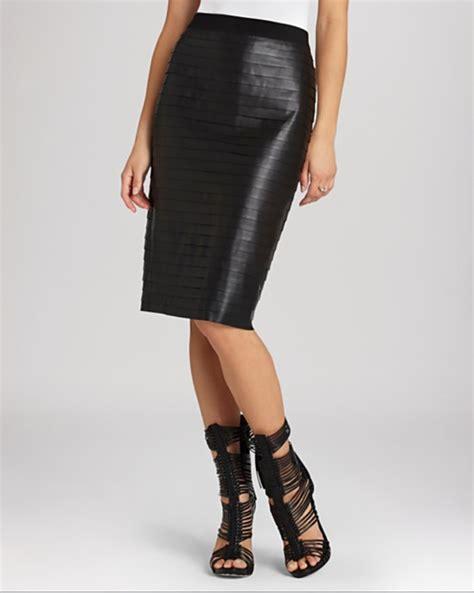 edgy elegance bcbgmaxazria faith faux leather pencil skirt