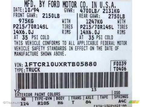 1996 ford taurus paint codes