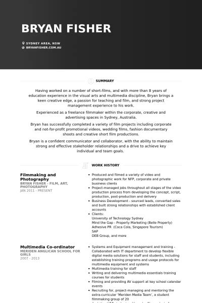 filmmaker resume template filmmaker resume template best resume gallery