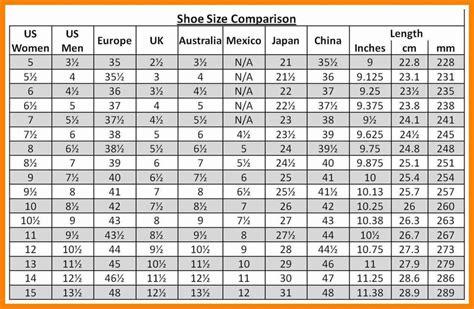 shoe size chart comparison shoe size comparison chart