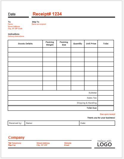 delivery receipt template delivery receipt template for word word excel templates