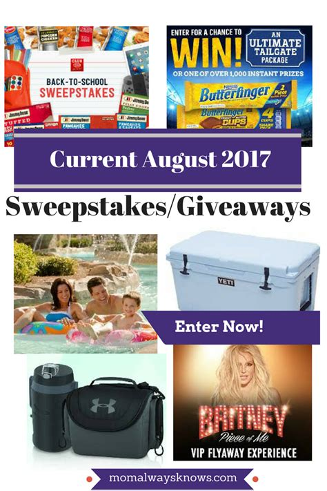 Current Sweepstakes And Giveaways 2017 - current august 2017 sweepstakes giveaways enter to win sponsors include yeti under