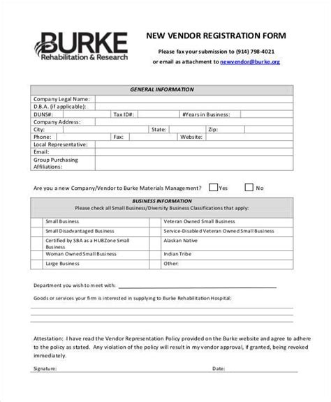 Registration Form Templates Vendor Form Template