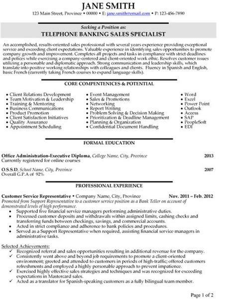 Personal Banker Sle Resume by Click Here To This Telephone Banking Sales Specialist Resume Template Http Www