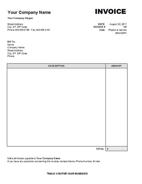 company invoice template word invoice template word 2007 free printable