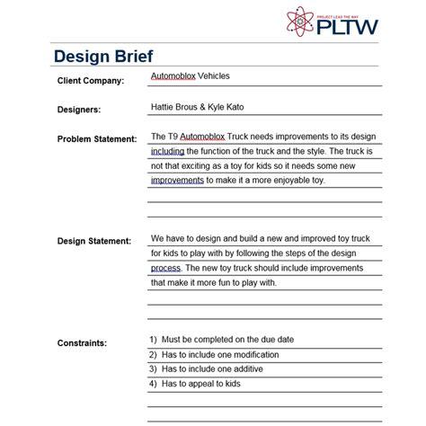 design brief definition pltw t9 truck automoblox improvement welcome