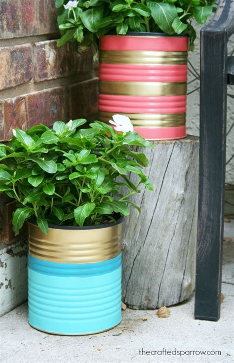 Tin Can Planters painted tin can planters