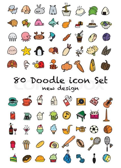 doodle draw icon pack set of 80 doodle icons universal set animal icons