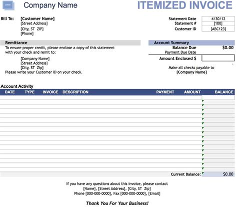itemized bill template free itemized invoice template excel pdf word doc