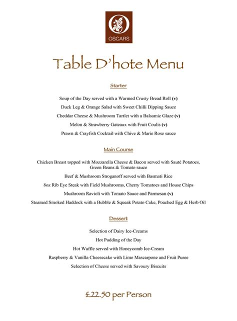 Table D Hôte by Food Service And Beverages