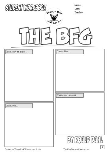 roald dahl book review template the bfg by roald dahl comic style workbook by