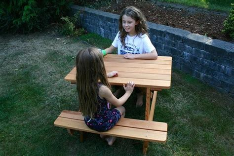 childs park bench kids wood picnic table seattle cedar