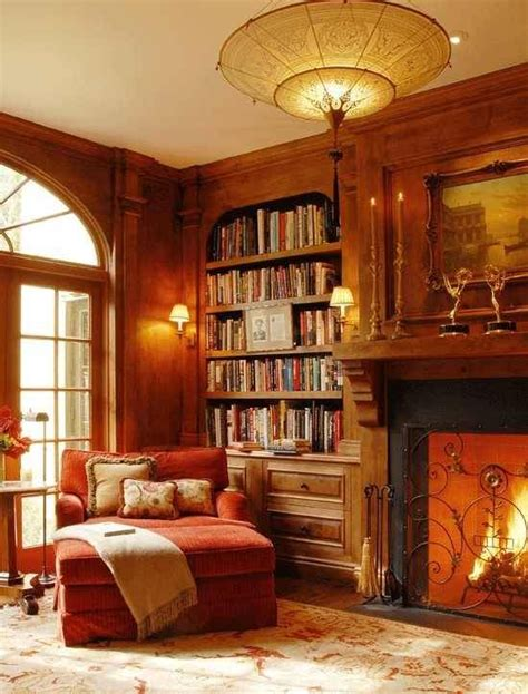 Home Library Design With Fireplace Cozy Home Library Home
