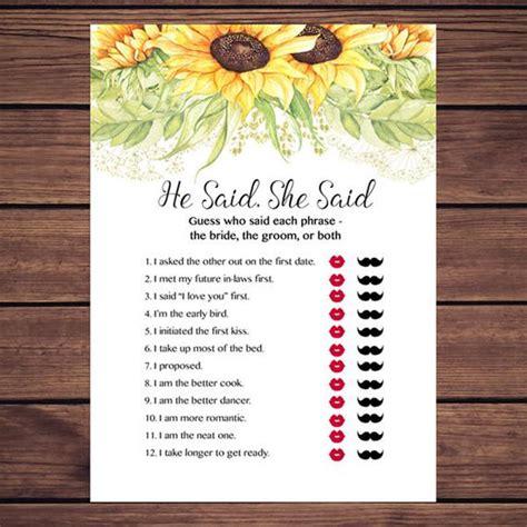 he said she said game sunflowers bridal shower he said she