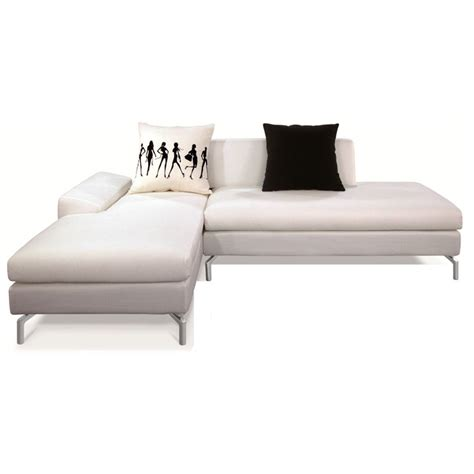 White Fabric Sectional Sofa Bosnia Sectional Sofa White Fabric Left Facing Chaise Dcg Stores