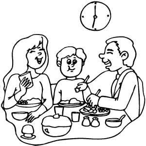 coloring pages of a family eating happy family dinner coloring page