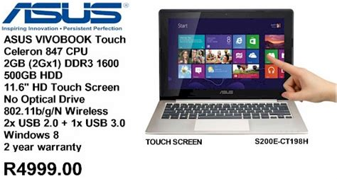 Laptop Asus Vivobook Touch S200e Ct286h asus vivobook s200e touch notebook