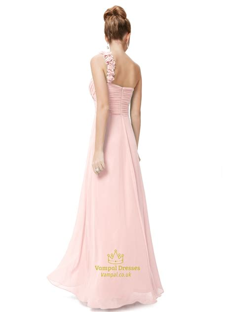 light pink chiffon dress light pink one shoulder flower strap chiffon bridesmaid