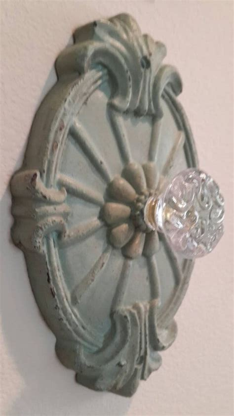 Glass Door Knob Wall Hooks by Wall Hook Rustic Green Shabby With Glass Knob Door Knobs