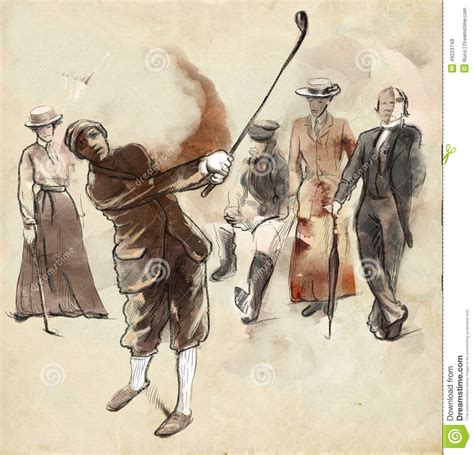 imagenes vintage golf golf player an hand drawn and painted illustration stock
