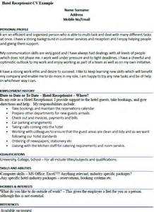 Cover Letter Exle For Receptionist by Hotel Receptionist Cv Exle Icover Org Uk