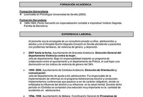 Modelo Curriculum Vitae Psicologo Clinico Modelo De Curr 237 Culum Vitae Para Psicolog 237 A Paperblog