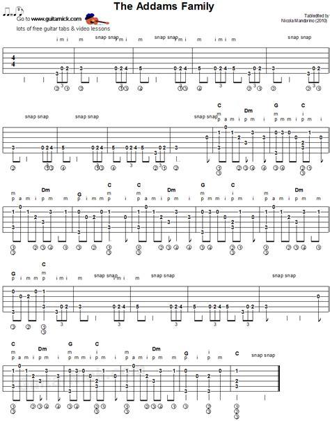fingerstyle en la guitarra the addams family fingerstyle guitar tablature sheet music guitarras