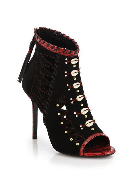 Heels Pesta Maroon Black Suede tamara mellon cheyenne open toe suede booties in black lyst