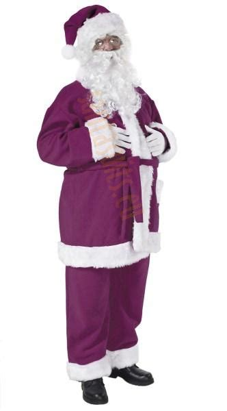 purple santa suit jacket trousers and hat santa suits