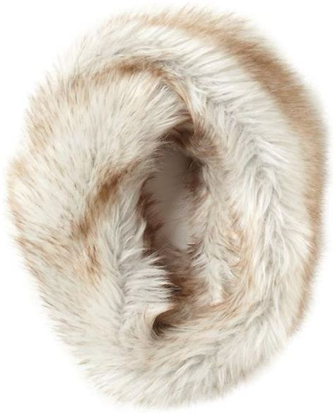 couture faux fur infinity scarf in beige