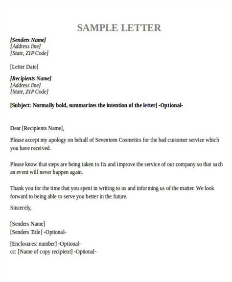 Business Letter Apology Poor Service formal apology letters