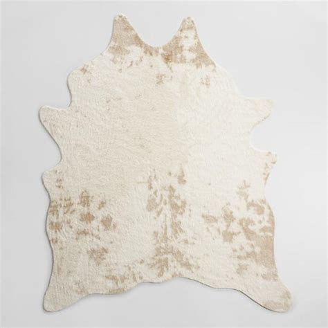 faux cowhide rug wholesale ivory printed faux cowhide area rug world market
