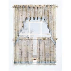 Sheer Valance Curtains Seascape Textured Sheer Printed Curtain Valance Walmart