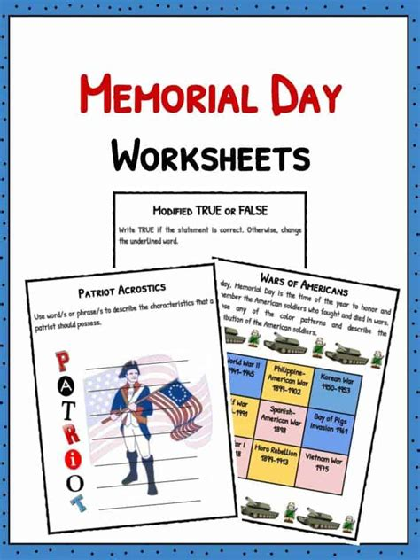 Memorial Day Worksheets by Memorial Day Facts Worksheets Historical Information