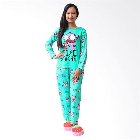 Baju Tidurpiyamasetelan Tidur Panjang Wanita Polkadot jual aily 8804 setelan baju tidur dan celana panjang wanita hijau harga kualitas