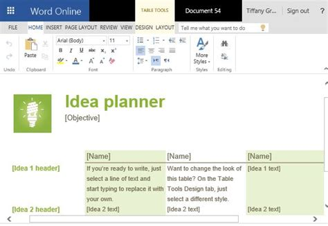 idea template idea planner template for microsoft word with tables