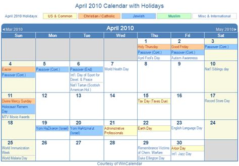 April 2010 Calendar Print Friendly April 2010 Us Calendar For Printing