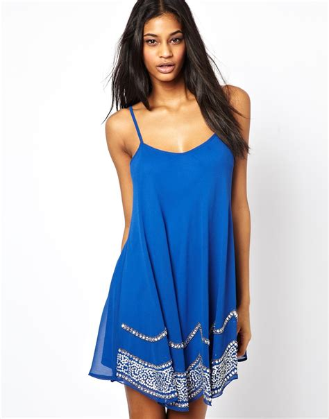 swing slip dress tfnc swing cami slip dress with embellished trim in blue