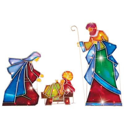 3 pc holographic lighted christmas outdoor nativity scene set lighted outdoor mosaic nativity 3pc from collections etc