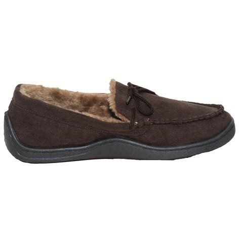 mens fur lined moccasin slippers mens luxury cosy faux fur lined faux suede moccasin slippers