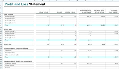 12 month profit and loss projection template template profit and loss projection template