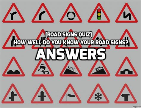 printable road sign test answers road signs quiz test your knowledge of uk road