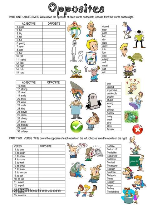 printable vocabulary activities opposites esl worksheets of the day pinterest