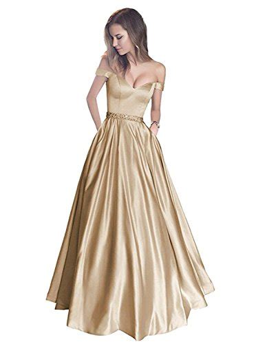 Off the Shoulder Sleeves Satin Long Prom Dress with Pockets Beaded Formal Evening Gowns